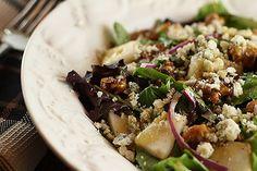 Pear, Walnut and Gorgonzola salad with Maple Dijon Dressing
