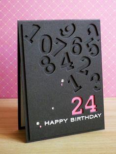 https://flic.kr/p/c1XBEu | 24th Birthday | Supplies: Cardstock: PTI (Smokey Shadow, Raspberry Fizz) Stamps: PTI (Birthday Basics) Ink: Tsukineko (Versamark Champagne) Other: PTI (Block Alphabet Numbers die) rinestones