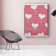 Photo-Store Plissé C?ur blanc sur fond rose  EN DIFFÉRENTES DIMENSIONS, SEMI-TRANSPARENT, GRAND GAIN DE PLACE