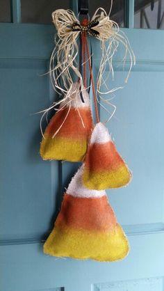 Candy corn burlap door hanger