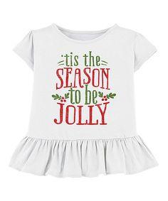 Loving this White ''Tis the Season' Ruffle Tee - Toddler & Girls on #zulily! #zulilyfinds
