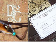 CeciStyle V112: RUSTIC LOVE: Chic Rustic Wedding - Be inspired by Diana & Garrett's chic rustic wedding - letterpress printing, foil printing, die cutting, digital printing