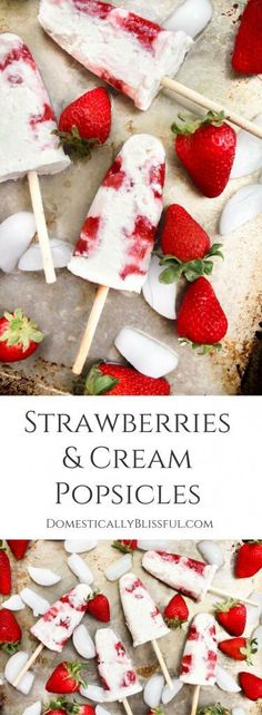 These easy homemade Strawberries & Cream Popsicles are a fun & delicious way to cool off while enjoying your favorite summer fruit! | creamsicle | strawberry popsicle | homemade popsicle | berry popsicle | whipped cream popsicle | homemade whipped cream |