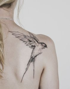 Flying Bird Tattoo On Shoulder By