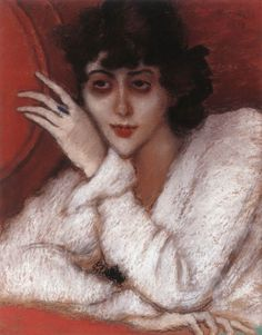 Zorka in a Red Armchair, 1918, by Jozsef Rippl-Ronai