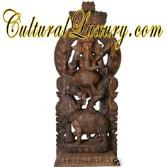 "GOD Ganesha Dancing On Rat 89"" Wood Carved Hindu Art Statue Indian Temple 125 KG The power of love. Lord Ganesha is the god born of the mother Uma Devi. Initially, the Ganesha is indeed the most beloved of her. After the battle with Lord Shiva with Aqua misunderstandings escalate until the Ganesha's head off."