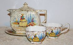 Crinoline Lady Cube Teapot Empire Ware Chintz Teapot , Plate, Creamer Jug and Sugar Bowl Yellow dress Tea Pot Set, Pink Tulips, Cream And Sugar, Vintage Items, Vintage Dishes, Love To Shop, Vintage China, Plate Sets, Yellow Dress