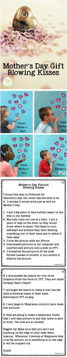 To make this a Mother's Day to remember and touch your mom's heart, we've gathered 16 caring DIY Mother's Day gifts to celebrate mom on her special day! Cute Mothers Day Gifts, Mothers Day Cards, Happy Mothers, Preschool Mothers Day Gifts, Easy Mother's Day Crafts, Fathers Day Crafts, Kids Crafts, Mother's Day Activities, Holiday Activities