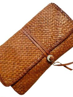 Hand Woven Leather Clutch Cognac by IMPERIO jp