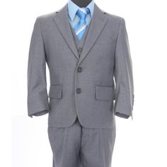 Give your son the appropriate outfit for any semi-formal occasion by adding this classic three-piece suit to his closet. The jacket is fully lined for comfort and durability. The vest makes this suit an elegant choice for school dances. Three Piece Suit, 3 Piece Suits, Formal Jacket, Boys Suits, Front Design, Suit Jacket, Vest, Looks Great, Buttons