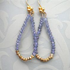 Tanzanite and Gold Gemstone Earrings