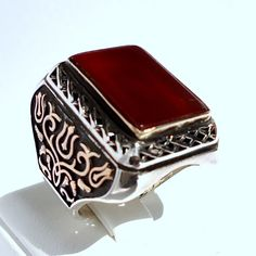 925 Sterling Silver Men's Ring with Red