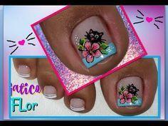 Decoración de Uñas Pies Gatico/ Uñas pies/decoración de uñas pies - YouTube Cute Pedicure Designs, Toe Nail Designs, Hello Nails, Cute Pedicures, French Pedicure, Magic Nails, Special Nails, Cat Nails, Dope Nails