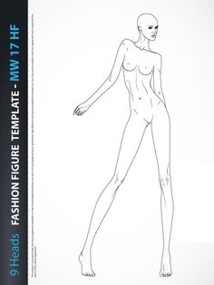 9 Heads Fashion Figure Template, includes fashion figure from the front view. Fashion figure template has all body details.