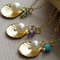Bridesmaid Jewelry Gift Set  3 Seashell by ShopSomethingBlue, $93.00
