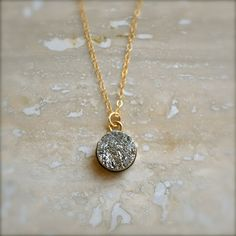 Simple Silver Druzy Necklace on Gold Chain by illuminancejewelry, $36.00 #etsy