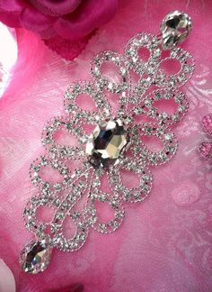 """TS112 Silver Crystal Rhinestone Applique Embellishment 5.5""""  Bridal Sash Motif (TS112-slcr). $16.99, via Etsy."""