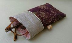 Etui lunettes tissu japonais passepoil doré et lin enduit : Etuis, mini sacs par justinfil