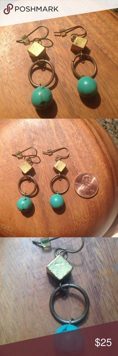 Handmade one-of-a-kind dangling earrings I had these earrings made by artist Nikki Fleck of Imagine Wholeness for a wedding I was in, but never really wear earrings so am looking to get these to someone who will love them! They have little rubber stoppers but aren't really necessary to keep the earrings in. Penny for scale. They are hand made and one of a kind and so so pretty. Imagine Wholeness Jewelry Earrings