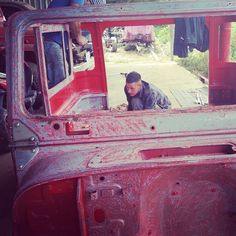 Scraping Cabin for 1980 Red BJ40 Getting it Ready for Sandblasting by the Vintage Cruiser Co. Follow Us @ http://www.facebook.com/vintagecruiser