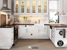 Beautiful U Shaped Kitchen Design With White Ikea Kitchen Cabinets Best Kitchen Design, Ikea Kitchen Design, Ikea Kitchen Cabinets, Kitchen Cabinet Design, White Cabinets, Upper Cabinets, Kitchen Designs, Ikea Appliances, Colored Cabinets