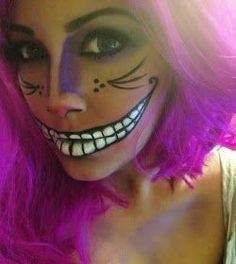 3 super cute and easy makeup looks you need to try this Halloween. halloween makeup looks Halloween Costumes 2014, Holidays Halloween, Halloween Make Up, Costumes 2015, Purple Halloween, Woman Costumes, Halloween Dress, Halloween Halloween, Cheshire Cat Makeup