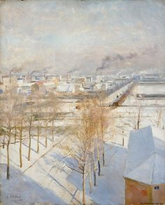 Albert Gustaf Aristides Edelfelt – Snow on Roofs, Wonder Art, Inspirational Artwork, Manet, Winter Landscape, White Art, Winter Time, Art Techniques, Canvas Art Prints, Online Art