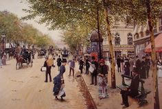 Boulevard des capucines, jean beraud. Jean Béraud (January 12, 1849 – October 4, 1935) was a French Impressionist painter and commercial artist noted for his paintings of Parisian life during the Belle Époque.