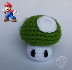 Cogumelo Mario Bros (1 Up) - Amigurumi