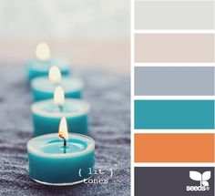 lit tones--I love the orange, teal, and gray combination.