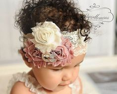 Dusty Rose Headband/Baby Headband/Baby Girl Hair Accessories/Infant Headband/Baby Girl Headband/Girl Headband Baby/Toddler Headband/Headband