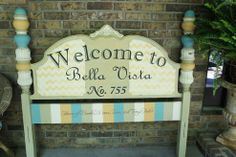 Repurposed Vintage Headboard Sign - Hmmmmmm - and I have an old headboard similar to this - I found it in my barn!