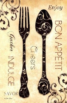 SPOON & FORK Printable image for decoupage and transfer purposes - Enjoy Vintage Diy, Vintage Labels, Vintage Paper, Vintage Posters, Kitchen Art, Vintage Kitchen, Kitchen Spoon, Vintage Pictures, Vintage Images