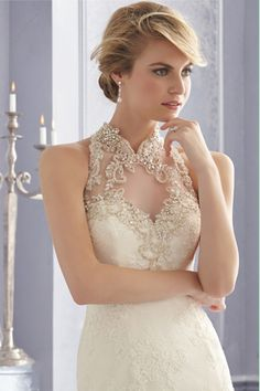 2014 Wedding Dresses High Neck Trumpet/Mermaid Chapel Train Tulle With Applique And Beads