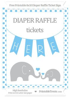 Free Pastel Light Blue Dotted  Elephant 8x10 Diaper Raffle Ticket Sign