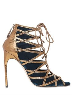 BRIAN ATWOOD 110Mm Gracie Velvet & Ayers Cage Sandals, Petrol/Bronze. #brianatwood #shoes #sandals
