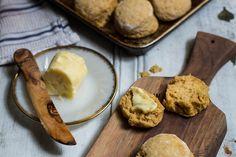 Honey Pumpkin Biscuits  Makes ten 2.5-inch biscuits      2 cups flour     1 teaspoon flaky sea salt     1 tablespoon baking powder     2 teaspoons cinnamon   ...