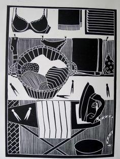 Linocut by Jan Brewerton titled 'Washing Day' Laundry Art, Lino Art, Linocut Prints, Art Prints, Scratchboard Art, Linoleum Block Printing, Linoprint, Wood Engraving, Art Sketchbook