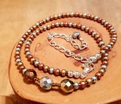 Tricolor Mixed Metals seed bead and Czech crystal by OklahomaMama