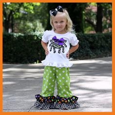 READY TO SHIP Mod Spider Ruffle Pant Set Size 2 on Etsy, $50.00
