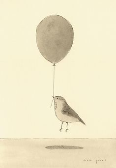 bird with a balloon Art Print by Marc Johns