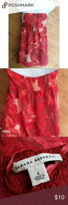 Banana Republic Red Floral Silk Strapless Tube Top Excellent condition  Chest 18 Length 23  100% silk Banana Republic Tops Tank Tops