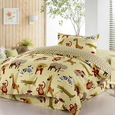 Cartoon animal zoo active printed bedding bedspreads 100% cotton with twin duvet cover flat sheet pillowcase 3/comforter sets for kids