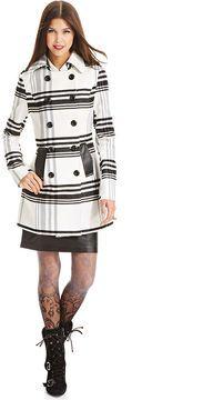 BCX Coat, Plaid Faux-Leather-Trim on shopstyle.co.uk