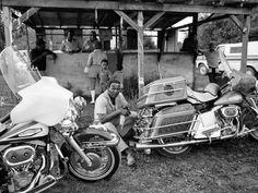 Vintage Motorcycles Photographic Print: Black Motorcyclist of the Big Circle Motorcycle Association Sitting Between Harley Davidson Bikes by John Shearer : - Biker Clubs, Motorcycle Clubs, Girl Motorcycle, Motorcycle Quotes, American Motorcycles, Vintage Motorcycles, Triumph Motorcycles, Custom Motorcycles, Vintage Diy