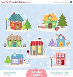 Winter Houses Digital Clipart Christmas