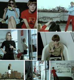 Stills from Phil Morrison's video look book highlighting X-girl's second season and starring Chloë Sevigny, Pumpkin Wentzel and Rita Ackermann.