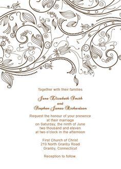 Vintage Flourishes Wedding Invitation Template