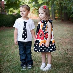 """cute matchy outfits....I may make some similar to this for my kids...loving the """"tie"""" on the t-shirts i've seen lately..."""
