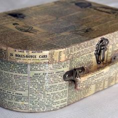 Decoupage a papier mâché box or suitcase. I have one like this that could really use book pages! Book Crafts, Arts And Crafts, Paper Crafts, Diy Crafts, Fall Crafts, Vintage Suitcases, Vintage Luggage, Altered Boxes, Book Pages